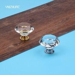 10 pièces 40 MM cristal clair verre diamant Golde silve Cut porte boutons armoires de cuisine tiroir boutons + vis décoration de la maison YZ-3007-40 #