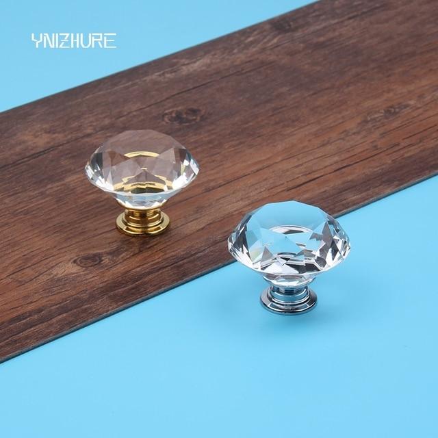 10PCS 40MM Clear Crystal Glass Diamond Golde silve Cut Door Knobs ...