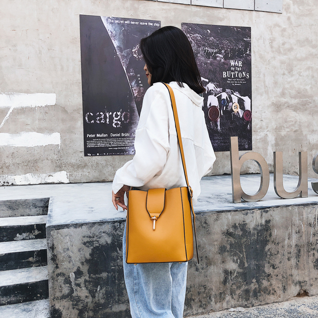 Burminsa Fall Bucket Shoulder Bags Female Large Capacity Designer Handbags Women Shopper Bags PU Leather Ladies Hand Bags 2018 3