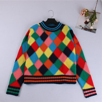 SRUILEE Brand Design Rainbow Plaid Jumper 2017 Autumn Winter New Blouse Cute Jersey Women Sweater Pullover Knit Top Runway