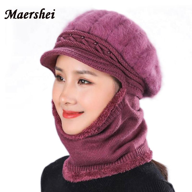 MAERSHEI mujeres Piel de invierno de lana sombrero de babero una pieza de lana  sombrero de punto damas de mediana edad cálido frío madre en esquí efb3021291e