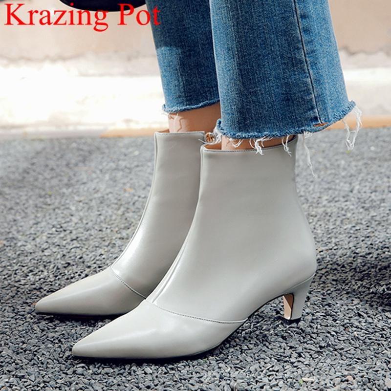 2019 new arrival pointed toe zipper cow leather thin heel ankle boots high heels solid office