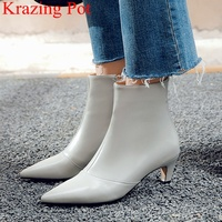 2019 new arrival pointed toe zipper cow leather thin heel ankle boots high heels solid office lady keep warm winter shoes L00