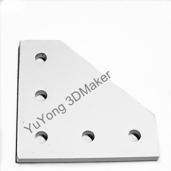 Prix pour 10 pcs/lot livraison gratuite 5 trou 90 degrés de rejoindre plaque 60*60*4mm pour 2020 v-fente en aluminium profil kits