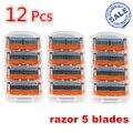 12 unidades/pacote FP Brand New mache 5 Camada de Máquina de barbear Barbeiro Facas Rzaor Sistema Sharpener Shaver Navalha Afiada Lâmina para homens