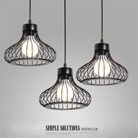 Ameciran Led DIY Antique Retro Wire Cafe Loft Droplight Fixture Iron Cage Pendant Light Hanging Fitting