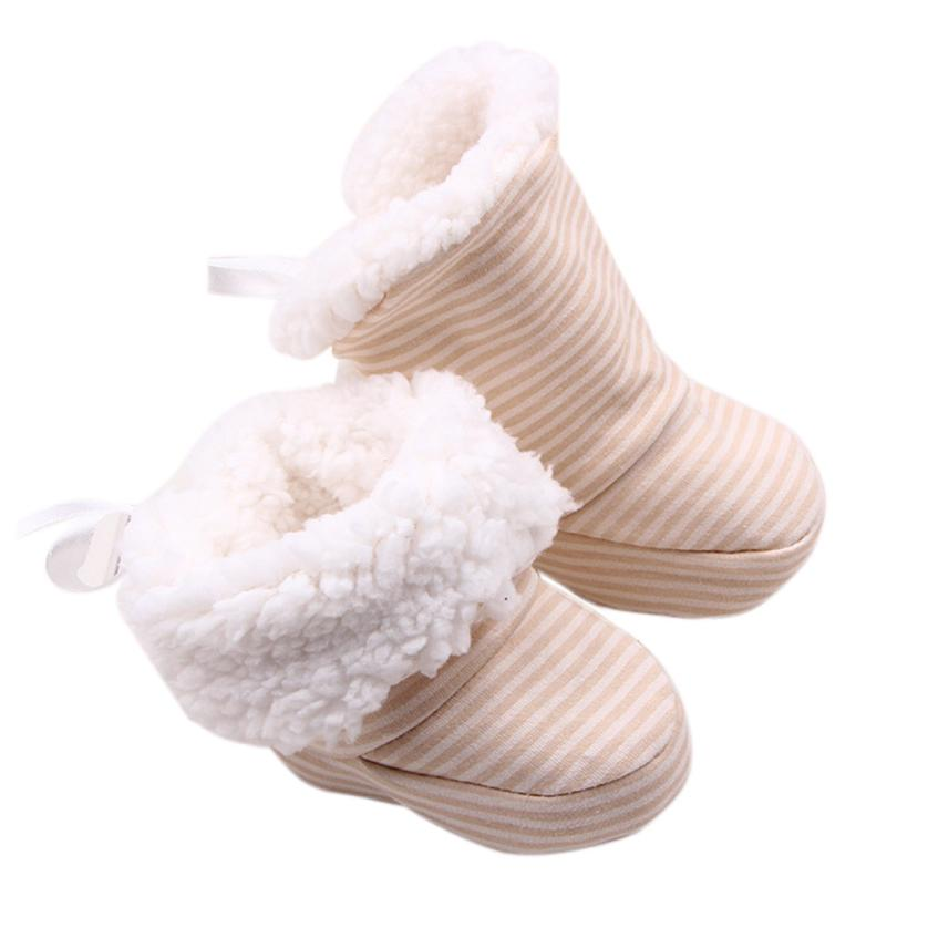 2017 kids boots girls Winter Soft Sole Crib Warm Bowknot Flats Cotton Boot Toddler botte garcon Baby Slippers