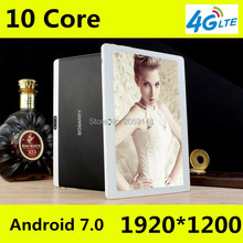 """Newest Android 7.0 Deca Core 10"""" Tablet PC 4GB RAM 64GB ROM inch 1920X1200 8MP 6000mAh WIFI GPS 4G LTE free shipping"""