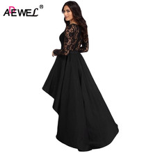 ADEWEL New 2018 Spring Cute High Low Satin Lace Dress Women Elegant Floor-Length Long Dress Long Sleeve Maxi Party Dresses(China)