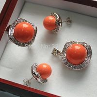 Hot selling> Beautiful gift Woman's Jewellery pink Coral color earring ring pendant necklace Silver Hook wholesale necklaces Br