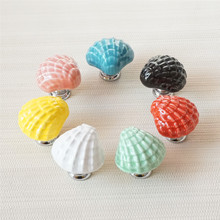 Ceramic Dresser Knob Shell Drawer Knobs Handles Kids Cabinet Pull Green Red Black Pink White Cupboard Furniture