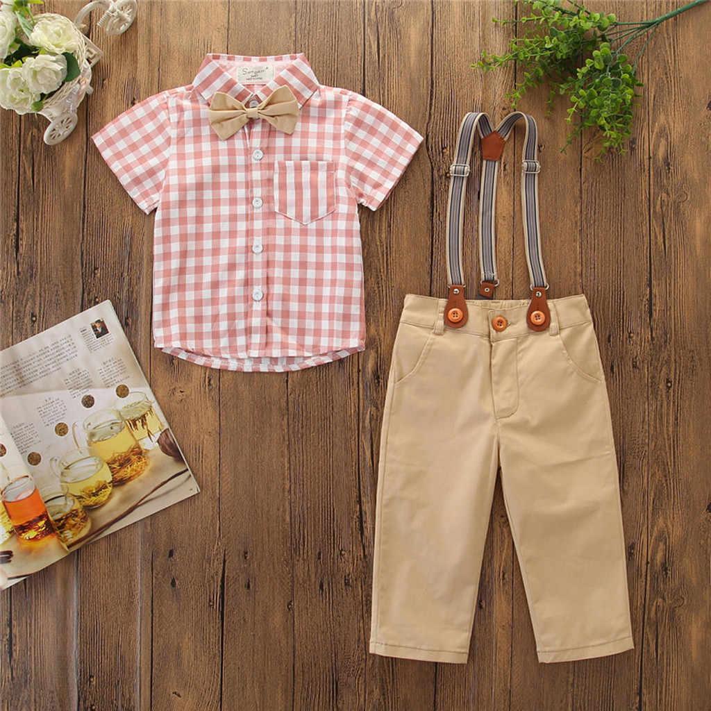 Criança Crianças Meninos Roupas Outfit Bow Tie Shirt + Calças Do Bebê conjuntos Partido Cavalheiro Terno roupa infantil menino vetement garcon
