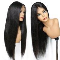 LUFFYHAIR бразильские волосы шелковая основа полные парики шнурка с волосами младенца прямые 5*4,5 remy волосы шелковые верхние парики натуральные
