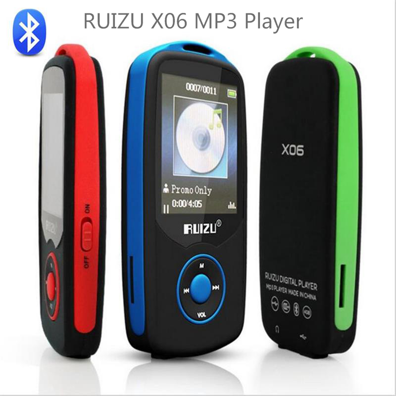 Original RUIZU X06 Bluetooth MP3 Player 8GB 1.8Inch Screen 80hour High Quality Lossless Sound Recorder FM Radio Music Player