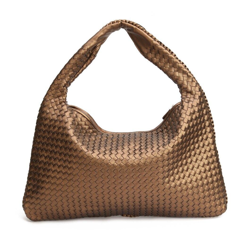 2ab9d86cef Celebrity brand vintage woven Faux leather hobo bags women shoulder handbags  top quality large size