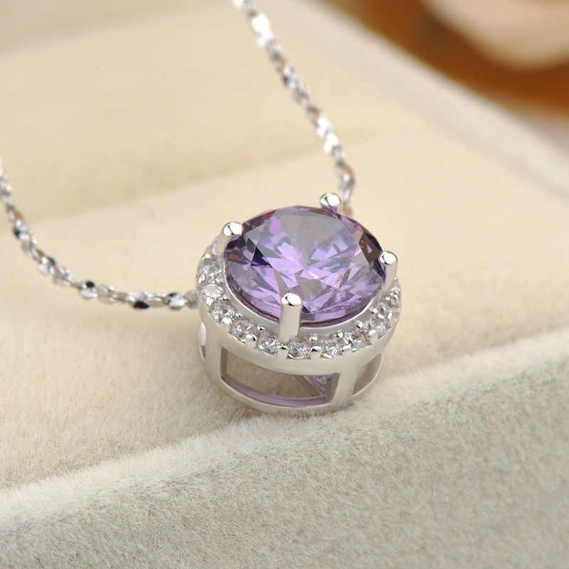 Wholesale Pendant Sterling Silver Jewelry Clavicle Necklace Round Pendant Zircon Diamond Pendant Women Gift 925 Chain with Box