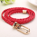 2016 Women Braided PU Leather Narrow Thin Buckle Strap Waist Belt All-Match Waistband 9TC4