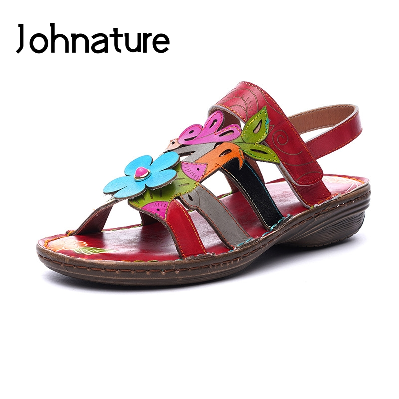 Johnature Genuine Leather Casual Summer Sandals Ankle wrap Hook Loop Floral Retro Back Strap Sewing Wedges