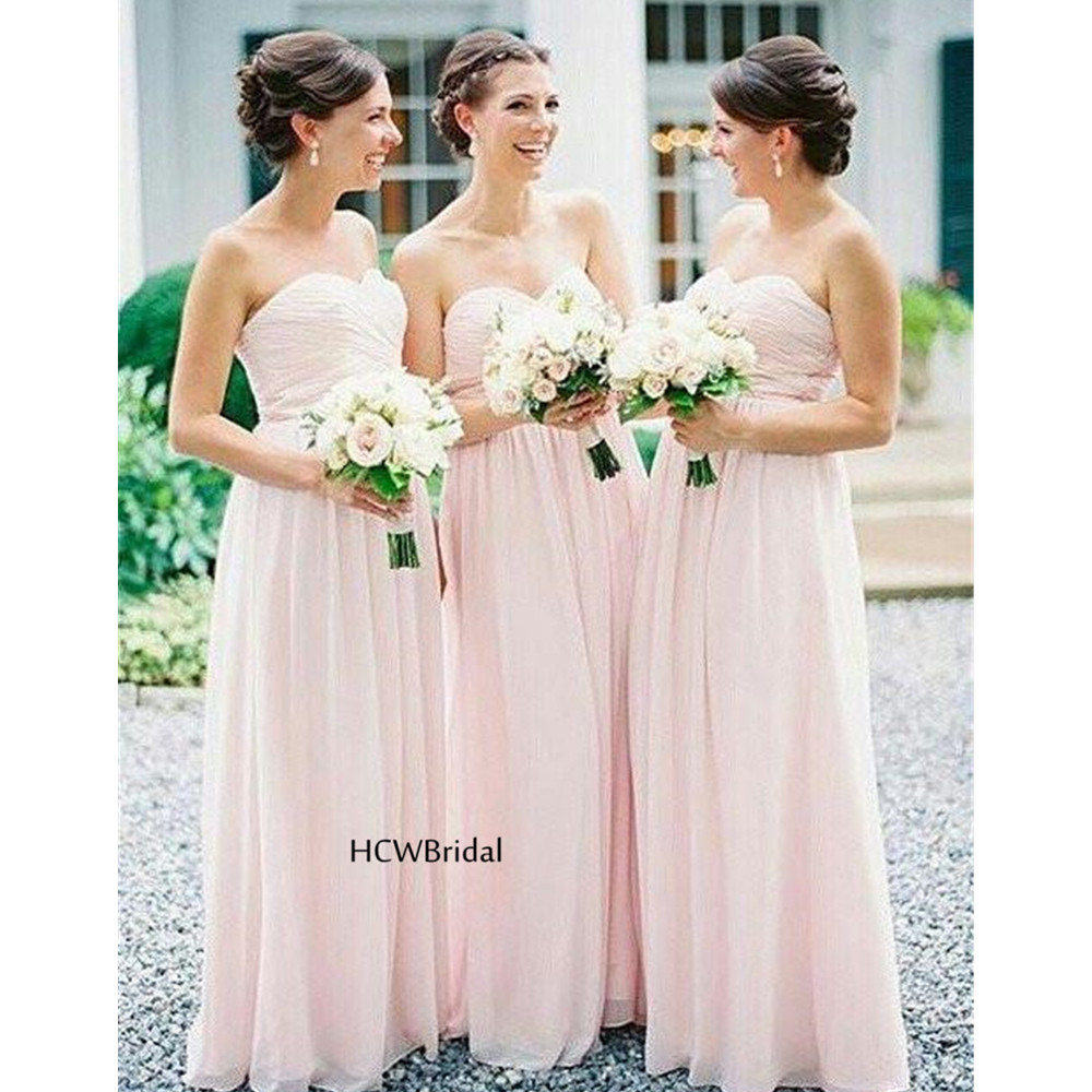 Simple Pink Pleat Chiffon   Bridesmaid     Dresses   Cheap 2019 Strapless A Line Floor Length Sexy Wedding Party Gowns Custom Made