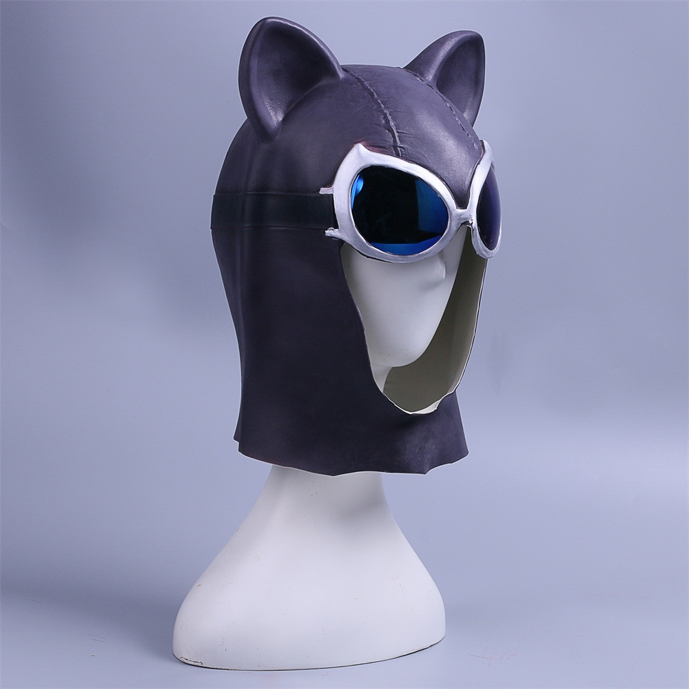 Cosplay Catwoman Mask Black Latex Cat Mask Cat Woman Batman Halloween Mask Prop (5)