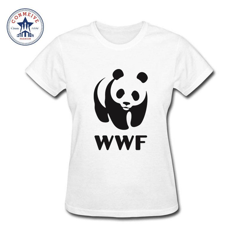 Best Gift For Friend wwf funny faces Panda Funny Cotton funny t shirt women(China)