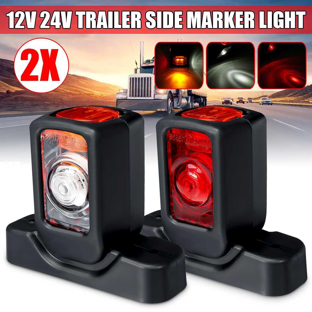 12/24V Truck LED Side Marker Light Triple Amber White Red Indicator Lamps For Trailer Lorry RV Bus
