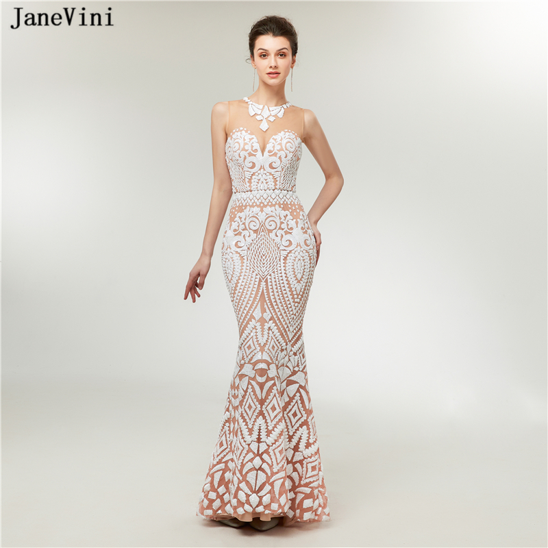 JaneVini Sexy Mermaid Sequined Long   Bridesmaid     Dresses   for Women O Neck Sheer Back Floor Length Formal Prom Gowns Vestido Largo