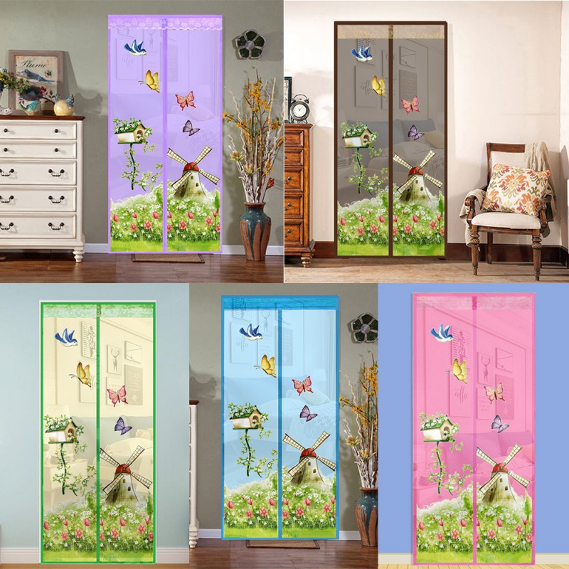 Black Soft Screen Door Magnetic Stripe Mosquito Insect Net Screen Door Summer Decorative Yarn Mesh Protect Window Screen Curtain 100x210
