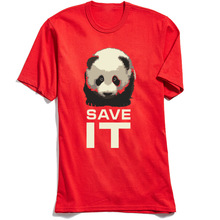 Save It T-shirt Men Lovely Panda Print T Shirt Animal Design Tops Summer Red Tees 100% Cotton Tshirt Letter No Fade Clothes Cute цена