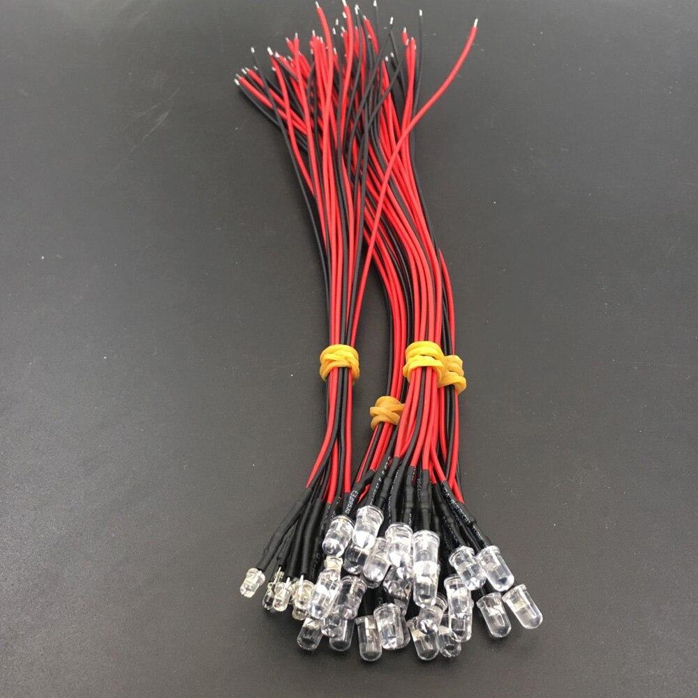 20 предметов в партии 20 см Предварительно Проводная 3 мм 5 мм светодиодный свет лампы Prewired светодиоды для DIY украшения дома DC12V