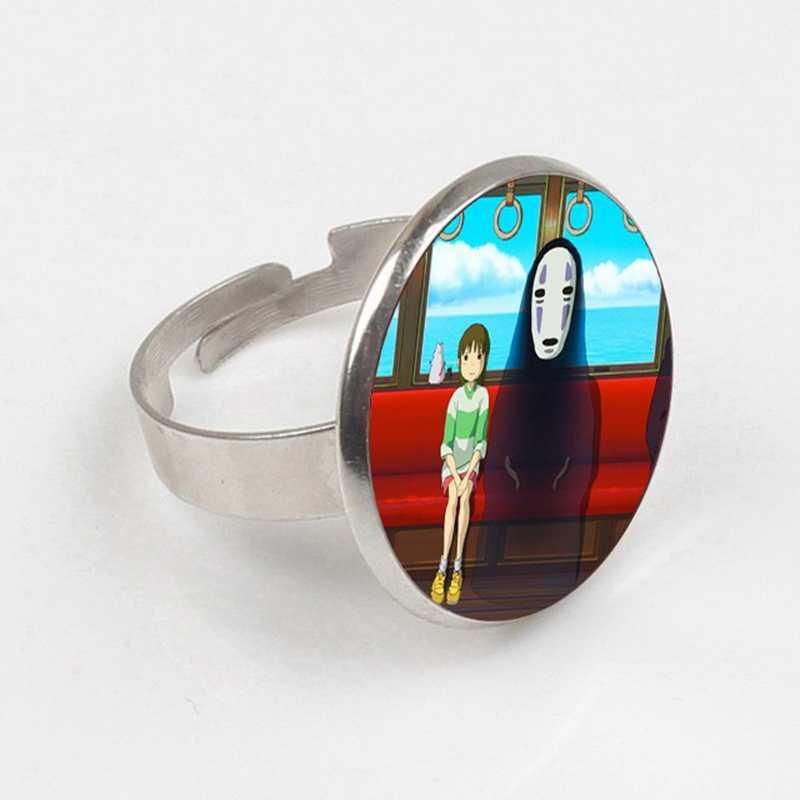 GDRGYB 2019 מסע מופלא טבעת לא פנים Kaonashi זכוכית תמונה טבעת כסף טבעת סיטונאי המון בתפזורת