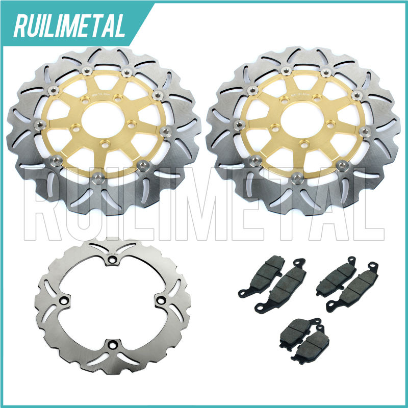 Front Rear Brake Discs Rotors Pads Set for HONDA DL 650 V-Strom 04 05 06 2004 2005 2006 DL 1000 02 03 07 08 09 K2-K9 K4 K5 K6 mfs motor motorcycle part front rear brake discs rotor for yamaha yzf r6 2003 2004 2005 yzfr6 03 04 05 gold