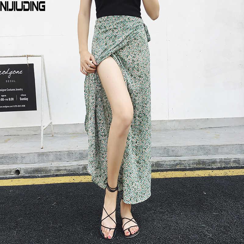 f0c1fd3cdc28 Boho Print Summer Holiday Beach Skirts Women 2018 Casual High Waist Long  Slim Wrap Floral Skirt