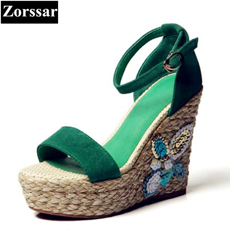 {Zorssar}Brand Women Shoes Summer Womens Wedges Sandals Casual Peep Toe High heels Fashion Bohemian Lady Platform Sandals zorssar brand 2017 high quality sexy summer womens sandals peep toe high heels ladies wedding party shoes plus size 34 43
