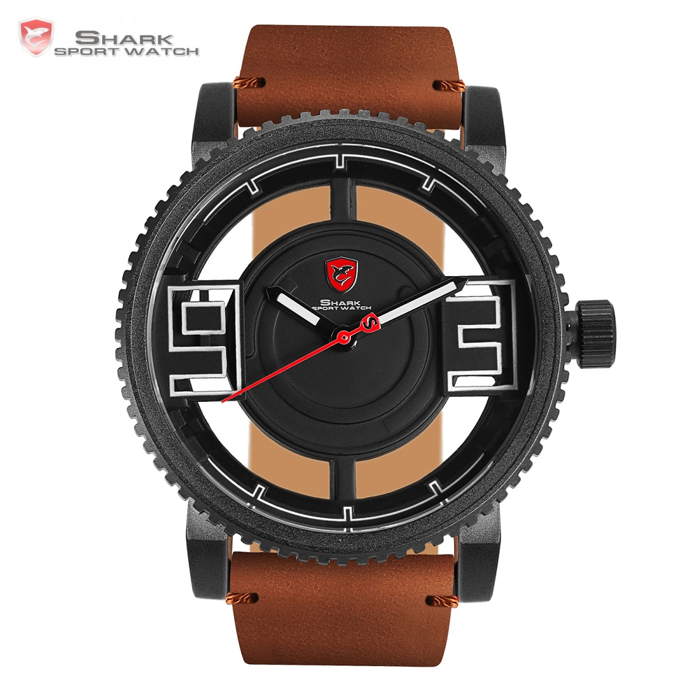 Megamouth Shark Sport Watch 3D Special Transparent Hollow Dial Design Luxury Brown Leather Band Men Creative
