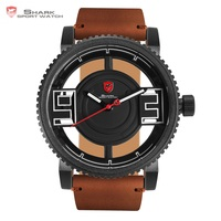 Megamouth Shark Sport Watch 3D Special Transparent Dial Design Brand Luxury Brown Leather Waterproof Men S
