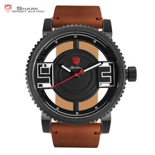 Megamouth Shark Sport Watch 3D Special Transparent Dial Design Brand Luxury Brown Leather Waterproof Men Creative Watches /SH543