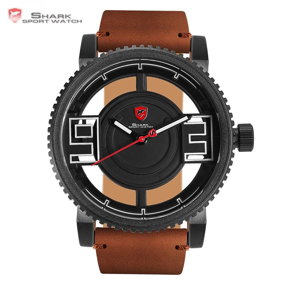 Relógio do esporte de Megamouth shark 3d especial transparente dial marrom de couro da marca de design de luxo dos homens relógios de pulso à prova d' água/sh543