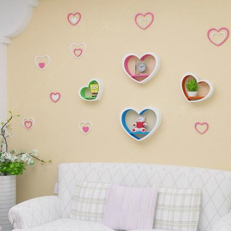 5pcs/set Wooden 3D Heart Shaped Wall Stickers Muraux Acrylic Stereo Removable Art Mural Wall Decals Backdrop Bedroom Home Decor