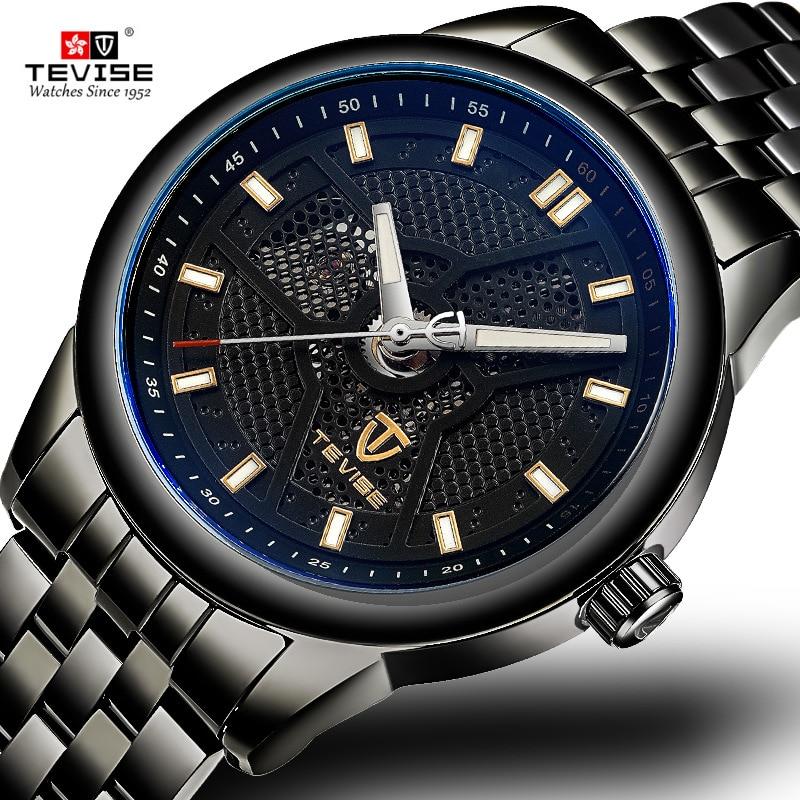 TEVISE 2018 Automatic Mechanical Steel Mens Watches Black Luminous Waterproof Transparent Skeleton Watch Men Relogio Masculino