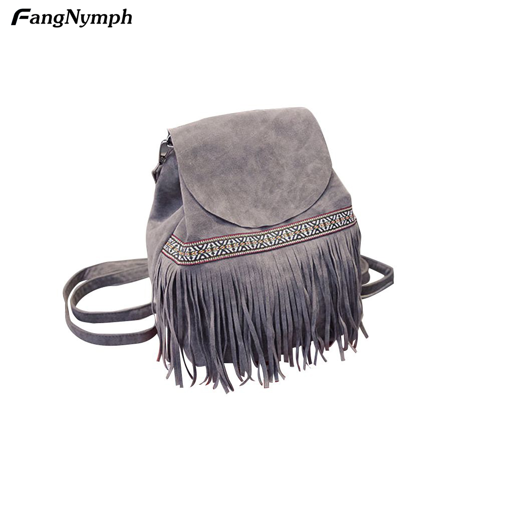 Fashion Tassel Bag Women girls Backpack Ethnic Style Satchel for shopping 4 Color retro tiny bell tassel anklet for women