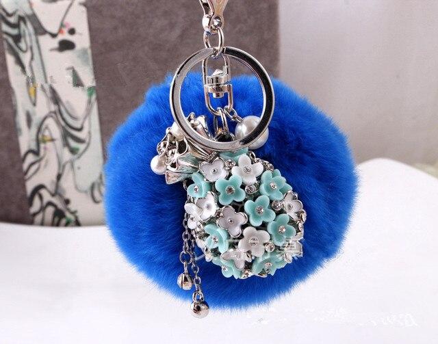 8 CM conejo llavero redondo de Metal pompones de piel bolso bola llavero de peluche para el coche adornos colgante súper anillo azul