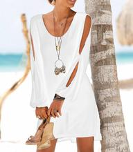 Hollow out off-the-shoulder deep V collar long sleeved casual beach Mini dress