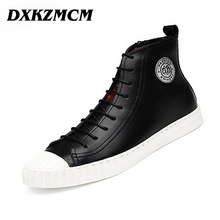 DXKZMCM New Handmade Men PU Leather autumn Winter boots, High Quality Winter men boots, ankle martin boots for men