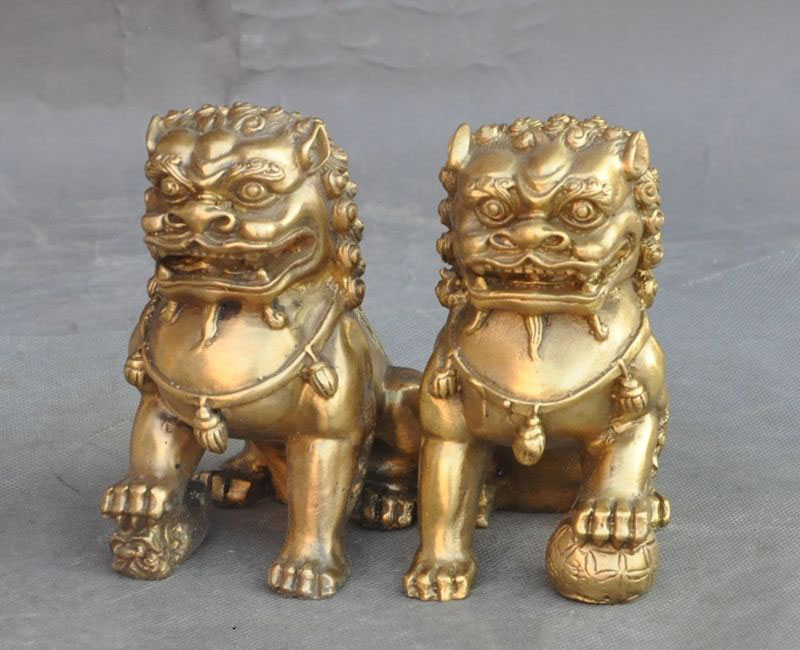 Lucky Chinese Brass fengshui Evil Guardian Door Foo dog Lion Beast Statue Pair