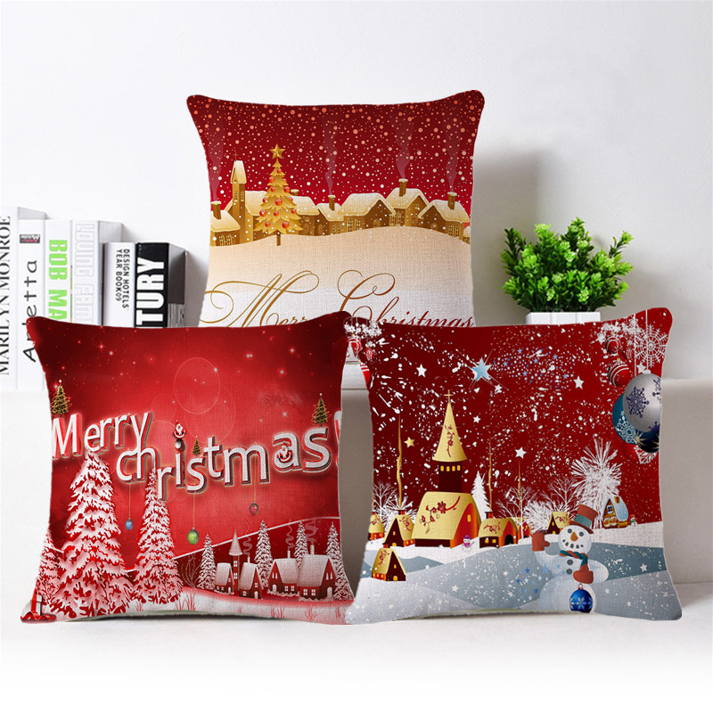 45x45cm Merry Chirstmas Full Printed Cotton Linen Pillow Case Cushion Case  Cover Christmas Home Decorative Sofa