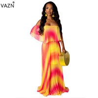 VAZN 2019 French Minority Beach Trumpet Long Dress Patchwork Chiffon Strapless Half Batwing Sleeve Pleated Dress YC1850