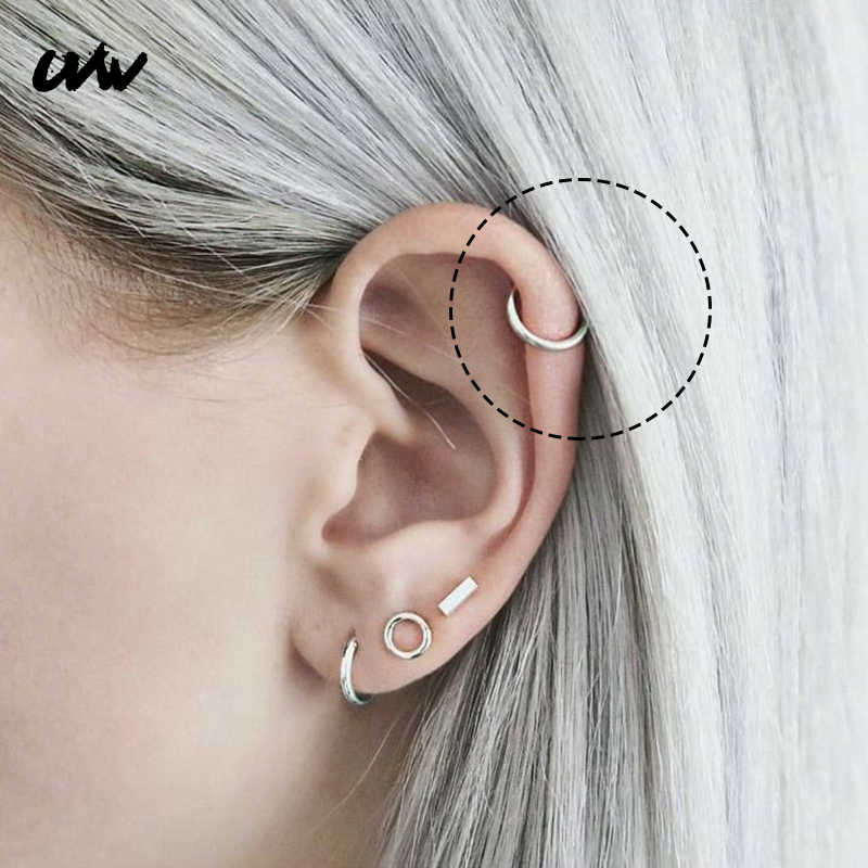 UVW0104 2pc Trendy 316L Steel Round Shape Segment Tragus Fake Septum Nose Rings Stud Helix Piercing Body Jewelry Women Earrings