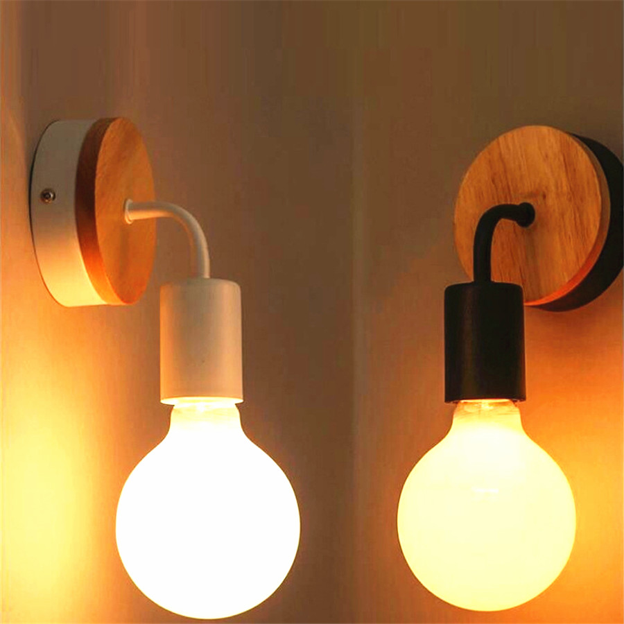 Nordic Modern Simple Wall Lamp Solid Wood Indoor Lighting Living Room Restaurant Bedroom Bedside Wall Lights