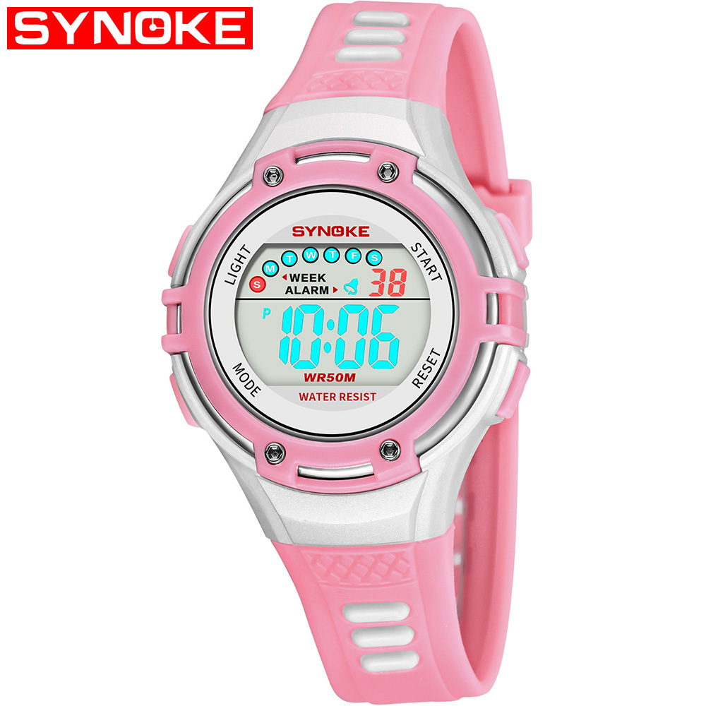 лучшая цена SYNOKE Kid Digital Watch Sports Waterproof LED Alarm 12/24H Stopwatch Calendar Wrist Watches for Boy Girl 9728